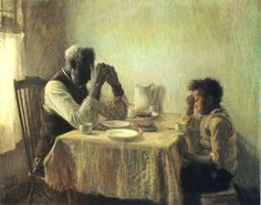 Praying with Grandpa by Henry Ossawa Tanner (American painter, 1859-1937)