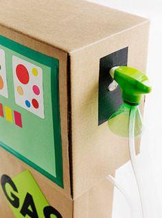 Cardboard Box Gas Pump. Love this idea!!!!