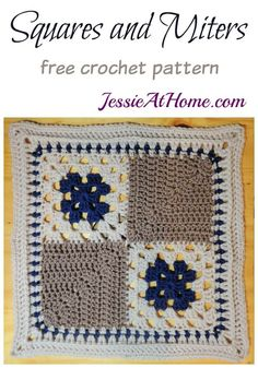 Part 5 - Wedding Blanket CAL -Tradition is great, but sometimes a unique granny square is just what you want. Squares and Miters give you the traditional with a fun twist. Motifs Granny Square, Sunburst Granny Square, Crochet Squares Afghan, Crochet Blanket Patterns, Crochet Granny, Crochet Motif, Knitting Patterns Free, Baby Knitting, Free Crochet