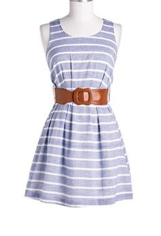 Blue, white, stripes, brown, stretchy belt, short, boat dress, casual.