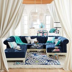 Cushy Roll-Arm Collection | PBteen - like the Navy with turquoise - for end of Mia's bed?