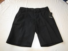 Men's Hurley 34 walk casual shorts O&O Chino short surf skate MWS0001970 black #Hurley #shorts