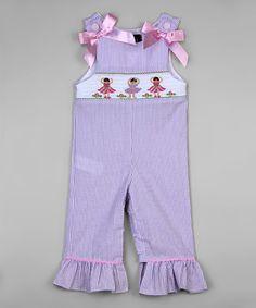 Loving this Lavender Ballerina Seersucker Smocked Overalls - Infant & Toddler on #zulily! #zulilyfinds
