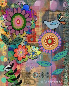Happy Garden Collage Wall Art by BethNadlerArt on Etsy, $15.00