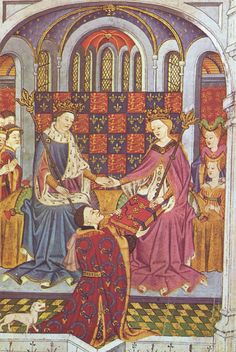 John Talbot, Margaret of Anjou and Henry VI Lancaster in a miniature from the 15th century.