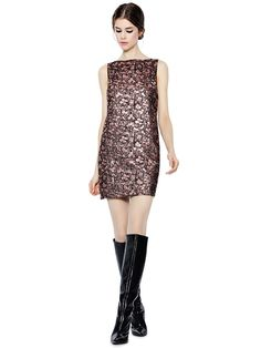 DOT METALLIC SLEEVELESS A-LINE DRESS - Alice and Olivia