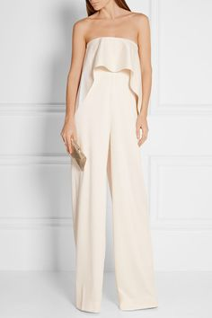 Solace London | Cadenza strapless ruffled bonded satin jumpsuit | NET-A-PORTER.COM