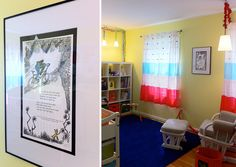 Framed Dr. Suess pages (via Project Nursery) this is easy and cheap. Also we can mat them double sided green or orange if a boy and pink if a girl