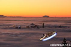 Photo Of Vancouver In The Fog Makes It Look Like Bespin (Complete with Millennium Falcon)