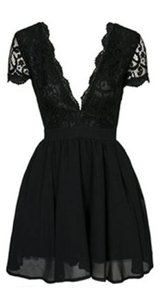 Lace Dress has been a classic sign within a long history . This Deep V Neck Lace Pleated Dress is so beautiful and sexy chic ,just what i am dreaming for !