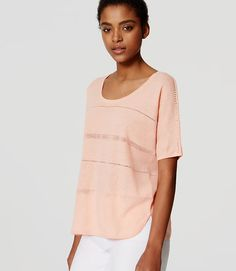 Image of Pointelle Striped Top color Peach Sorbet
