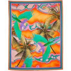 MATTHEW WILLIAMSON ESCAPE Orange Tropical Print Sarong ($287) ❤ liked on Polyvore