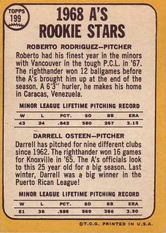 1968 Topps #199 Athletics Rookies - Roberto Rodriguez / Darrell Osteen Back