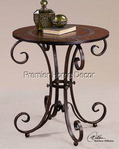 Tuscan  End Table Scroll Designed Metal Base Faux Leather Top Studded Accents