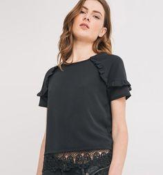 b59cacc093 Hímzett női felső fekete - Promod   ruhák   Black tops, Shirts és T shirt