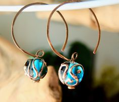 Capris Blue LAMPWORK Hoop Earrings Hammered by BOUTIQUEofBlueRidge