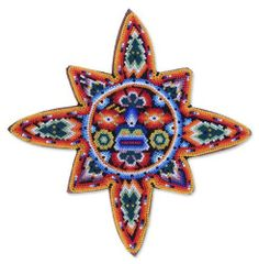 Beadwork sun, 'Long Life' by NOVICA. $97.95. Keep out of the sun. A fair trade product. Handmade by Santos. Normally ships directly from Mexico within 10 days.. Keep out of heat. Hand-crafted item -- color, size and/or motif may vary slightly. NOVICA, in association with National Geographic, searches the world to work directly with the finest artisan designers. Santos invokes the sun, mystical father of the Huichol people, with this stunning beadwork compositi...