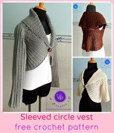 Free crochet pattern for a sleeved circle vest by Maz Kwok's Designs. The vest is a stylish solution to a cardigan or winter sweater.