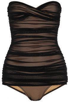 NORMA KAMALI  Walter Mio ruched stretch-tulle swimsuit  $350