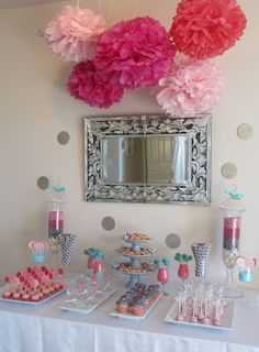 Jane's 2nd bday (reuse my Martha Stewart paper poms from her first bday) Love the simplicity!