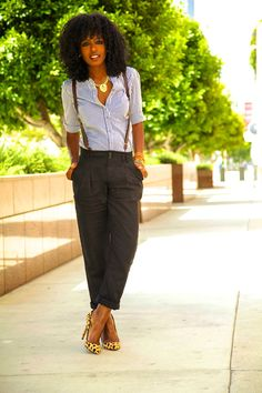 Striped Button-up Shirt + Suspender Trousers via StylePantry. Not sure if I could pull this off, but I really like it....
