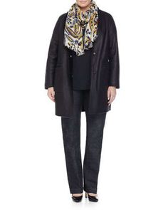 Edison Reversible Leather Shearling Fur Jacket, Bandiera Ruffle-Front Blouse, Ikat-Print Wool Scarf &  Igea Stretch Denim Pants by Marina Rinaldi at Neiman Marcus.