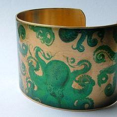 Octopus Jewelry Brass Cuff Bracelet with Mythical by JezebelCharms, $40.00