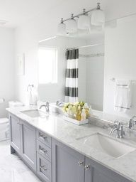 Master bath remodel - grey cabinets with carrera marble. Accents: yellow or navy? Grey Bathroom Cabinets, Grey Cabinets, Bathroom Renos, Kitchen Cabinets, Bathroom Remodeling, Bath Cabinets, Remodeling Ideas, Kitchen Cupboard, Quartz Bathroom Countertops