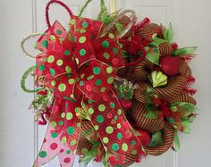 FLASH SALE: Whimsical, Elegant, Deco Mesh, Extra Large Christmas Wreath Lime Green, Red & Emerald Green Stripes