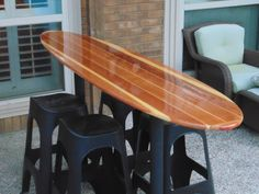 our customer wet sanded, polished, and waxed the heck out of it. Looks pretty good! Surfboard Table, Surfboard Decor, Lounges, Pool Water Features, Surf House, Backyard Bar, Restaurant Concept, Deck Decorating, Beach Bars
