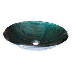 Eden Bath�Teal Glass Round Vessel Sink