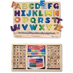 Melissa & Doug Alphabet Stamp Set and Alphabet Sound Puzzle Bundle