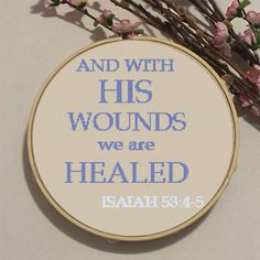 Bible Verse. Easter. Cross Stitch Pattern. PDF Chart. And with His Wounds We Are Healed. Isaiah. Instant Download. DIY Easter Decor. Quote.