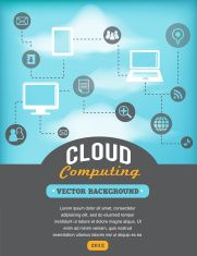 vintage style cloud computing poster vector art illustration
