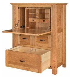 Amish Calloway Secretary Desk The Calloway is a phenomenon! This wood secretary desk is full of storage, cubbies, cabinets, drawers and workspace. Tuck it all away when you're not working. An Amish made wood desk that will last. #desks #secretarydesk