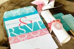 coral and aqua wedding invitations - Google Search