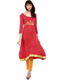 Plus Size Voguish Ira Soleil Red Viscose Kurti - IRASOLEIL Kurtas & kurtis for women | buy women kurtas and kurtis online in indium