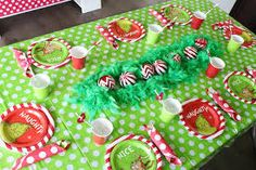 """Kara's Party Ideas """"Party Like a Grinch"""" Christmas Party   Kara's Party Ideas Grinch Party, Le Grinch, Grinch Christmas Party, Family Christmas, Christmas Holiday, Holiday Foods, Christmas Movies, White Christmas, Grinch Christmas Decorations"""