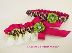 Add fun, add style, add YOUR personality to your wedding.  Leopard, lace, hot pink and a twist of lime garter set. #brides #weddings