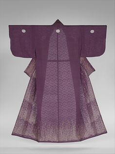 Unlined Kosode (Hitoe) with Grasses and Dewdrops  Period: Edo period (1615–1868) Date: second half of the 18th–19th century Culture: Japan Medium: Resist-dyed plain-weave silk gauze (ro) embroidered with silk and metallic thread