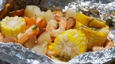 Grilled Shrimp Foil Packets  -  sausage, corn, potatoes, butter, lemon, seasoning, etc.  seafood, veggies, protein, carbs, balanced, bbq.  want.   lj