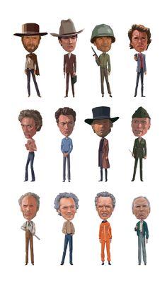 Digital Art - Clint by Mitch Frey , Eastwood Movies, Clint Eastwood, Cartoon People, Bobble Head, Pop Culture, Disney Characters, Fictional Characters, Digital Art, Design Inspiration