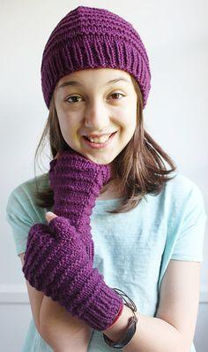 Kids and Tweens 100% Wool Knit Hat and Fingerless Gloves Tinker Creek Handknits.