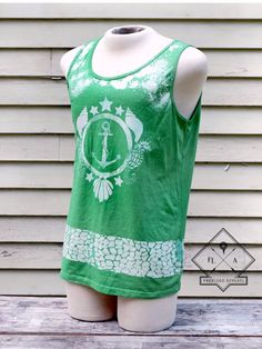 $25.00 Unisex Bleached Nautical Green Tank // Large #clothing #wearableart #bleachedapparel #fashion #unisex #bleacheddesigns #nautical #green #tanktops #sleeveless #style #followme http://goo.gl/5NWmTh