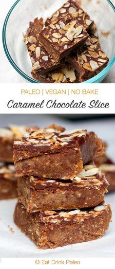 No-Bake Paleo Chocolate Caramel Slice - Irena Macri Chocolate Fudge Slice, Paleo Chocolate, Chocolate Caramels, Chocolate Desserts, Sugar Free Recipes, Raw Food Recipes, Sweet Recipes, Baking Recipes, Paleo Dessert