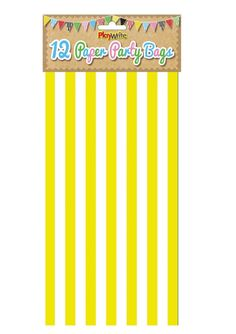Yellow Candy Stripe Paper Party Bags  - Buy Now, Extrabits.co.uk