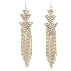 Charlotte Russe Gold Rhinestone Triangle Fringe Earrings by Charlotte... ($6) ❤ liked on Polyvore featuring jewelry, earrings, gold, chain dangle earrings, long earrings, yellow gold dangle earrings, chain earrings and gold jewelry