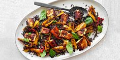 Grilling Cheese With Sweet Peppers and Black Lentils recipe | Epicurious.com Black Lentils, Lentil Salad, Lentil Recipes, Stuffed Sweet Peppers, Food Menu, Food 52, Epicurious Recipes, Scd Recipes, Healthy Recipes
