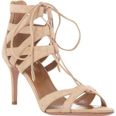Aquazzura Beverly Hills Sandals (9 960 ZAR) ❤ liked on Polyvore featuring shoes, sandals, open toe shoes, leather sole shoes, laced up shoes, lace up shoes i lace up sandals