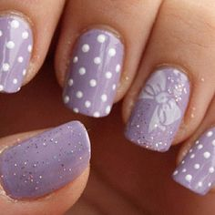 lilac nails with designs
